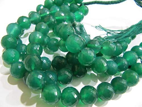 Shree_Narayani Natural Verde Onyx redondo forma de bola micro facetado 12mm rosario piedras preciosas perlas hebra 8 pulgadas de largo precios al por mayor granos de piedra natalicia 1 hebra