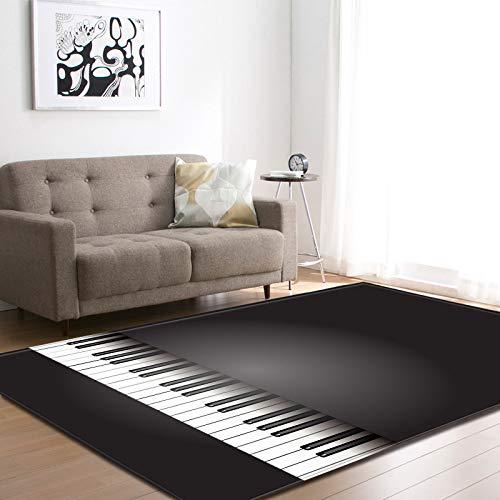 Gruesa alfombra de terciopelo suave manchada alfombra antideslizante inferior para la sala de estar dormitorio 3D piano llave impresa piso pad guardería habitación jugar a casa decoración,122 * 183CM