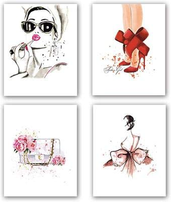 KAIRNE 4er Set Moderne Wand-Bilder für das Wohnzimmer | Premium Poster als Wandbilder | Stilvolles Set mit passenden Bilder | Wandbild Schlafzimmer deko | Bilderwand Bildergalerie ohne Rahmen