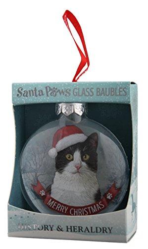 Santa Paws Glass Ornaments Cat-Tuxedo Ornament, Multicolor