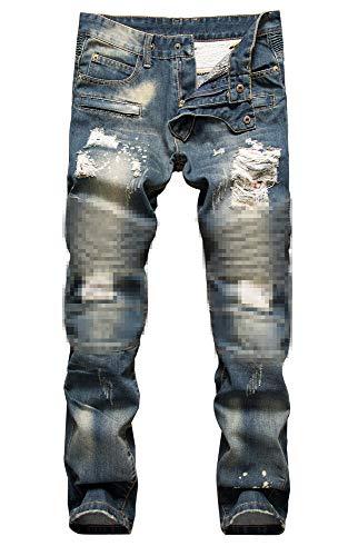 NITAGUT Men's Ripped Slim Straight fit Biker Jeans Dark Blue-US 34