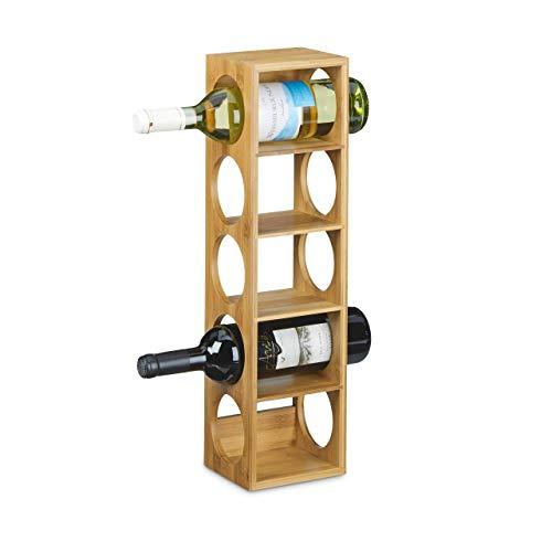 Relaxdays Weinregal aus Bambus HxBxT: ca. 53 x 14 x 12 cm mit 5 Fächern Holzregal für Wein Flaschenregal modern Regal für Getränke Weinhalter zur waagerechten Lagerung stapelbar, natur