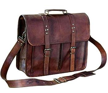 13 Inch Leather Vintage Cross-body Messenger Satchel Bag for Men Women ~ Business Work Briefcase Carry Laptop Computer Book