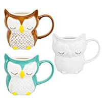el&groove 3D Owl Cup Set、Brown、Turquoise and White、250 ml coffee cup(300 ml to the the brim)、Porcelain tea cup、morning muffin cup、Owl cap、Gift Idea