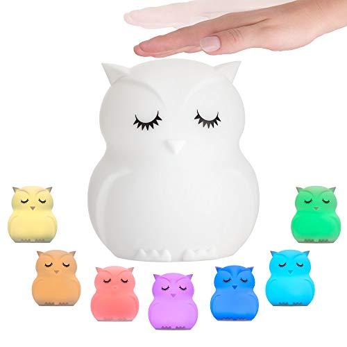 Pauleen 48033 Good Night Owl Nachtlicht Eule für Kinder mit Akku LED Kinderzimmerlampe mit Farbwechsel aus BPA-freiem Silikon, Weiß
