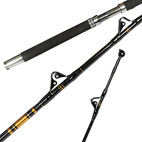 Fiblink 1-Piece/2-Piece Saltwater Offshore Heavy Trolling Rod Big Game Roller Rod Conventional Boat Fishing Pole with Roller Guides (1-Piece,6 Feet, 50-80lb)