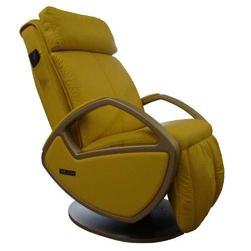 WELCON Massagesessel | Massagestuhl mit Shiatsu Massage Sessel Leder gelb Space by Keyton
