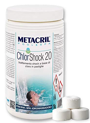 Metacril Chlor Shock 20 (1KG)-Cloro a Rapida dissoluzione in Past.da 20g per tratt.Shock o Mantenimento Piscina e Spa IDROMASSAGGIO (Jacuzzi,Teuco,Dimhora,Index,Bestway,ECC.) Spedizione IMMEDIATA