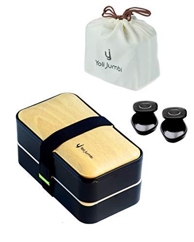 Yoli Jumbi⭐Lunch Box Noir Bambou   Boîte Bento Japonaise Haute Qualité avec 3 Couverts Solides Un Sac Bento Et 2 Pot À Sauce   1200ml   Hermétique   Passe Au Micro-Ondes Et Au Lave-Vaisselle  Sans BPA