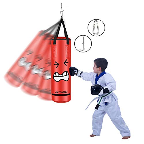 Boxsack für Kinder und Erwachsene Punchingsäcke - JanTeelGO Ungefüllte Hängende Boxsack mit Montagekette für Boxtraining Sandsack Kampfsport | Canvas Punching Bag (Rot-60x20cm)