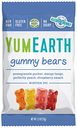 YumEarth Gluten Free Gummy Bears, Assorted Flavors, 2.5 Oz Bag - Allergy Friendly, Non GMO (Packaging May Vary)