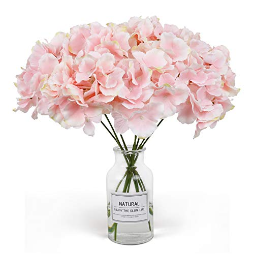 RENATUHOM Hortensien künstliche Blumen, 10 Stück unechte Hortensien rosa Blumen Seidenblumen gefälschte Blumen Brautstrauß Weihnachten Dekoration, Zuhause, Garten, Party, Hotel, Büro Dekoration