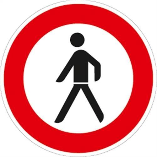 Verkehrszeichen VZ259, Verbot für Fußgänger, Alu, RA1, Ø 42cm Verkehrsschild