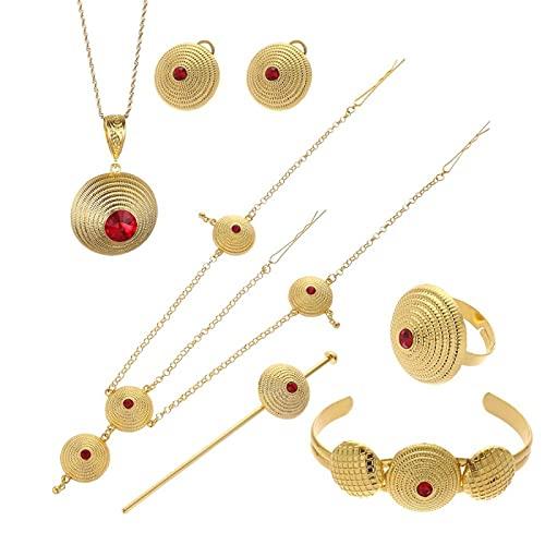 Juego de collar y pulsera africanos para hombre, oro y bronce, joya étnica, hip hop árabe, Oriente Medio, cadena pesada #050302