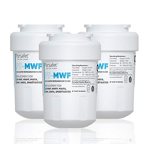 Pursafet MWF Refrigerator Water Filter Compatible with GE MWF, GWF01,GWFA,GWF06,SmartWater,MWFINT,MWFP,MWFA,GWF,HDX FMG-1,WFC1201,RWF1060,197D6321P006,GSE25GSHECSS,Kenmore 9991,46 9996,46-9991, 3 Pack