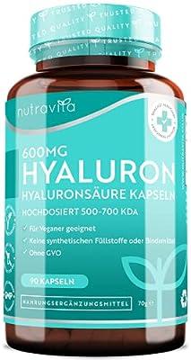 600mg Hyaluronsäure Kapseln – Hochdosiert mit 600mg pro Kapsel - 500-700 kDa – Chargengetestet und zertifiziert von einem unabhängigen deutschen Labor – 90 vegane Hyaluron Kapseln