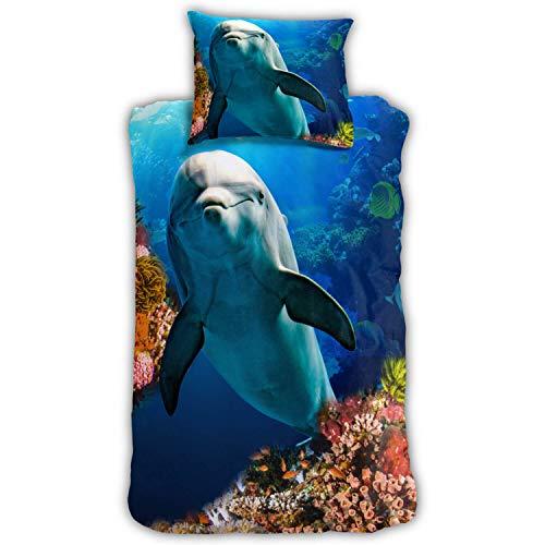 ESPiCO Bettwäsche Sleep and Dream Delfin Fische Korallen Riff Wasser Meer Ozean Renforcé, Größe:135 cm x 200 cm
