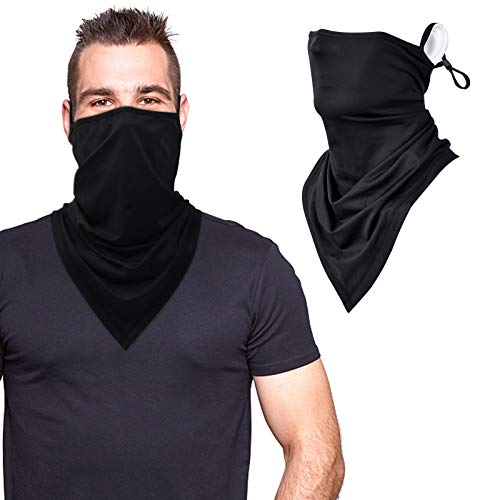 Black Gaiters Face Masks Washable Reusable Bandana Neck Gaiter Face Mask with Ear Loops Face Scarf Masks for Women Balaclava Face Coverings for Men Adult Headband