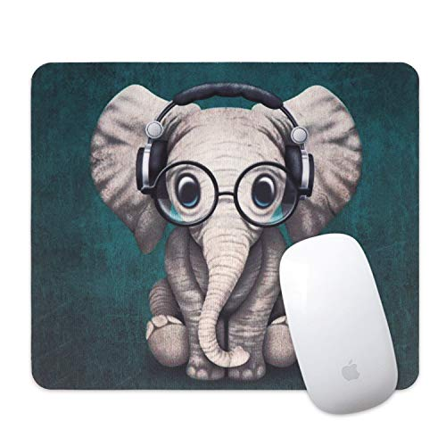 Artiron Mouse Pad, Rectangle Customized Gaming Mouse Mat Non-Slip Cute Mouse Pads with Funny Art Design for Computers laptop, Ideal Partner for Working or Game 7.9x9.5inch (Cute Headset Music Elephant