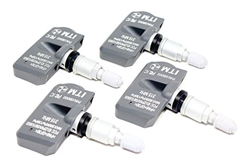 ITM Set of 4 315mhz TPMS Tire Pressure Sensors for 2012-2019 Hyundai Veloster All Models Replacement w/Silver Aluminum Valve Stems