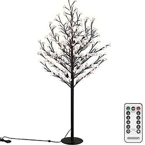 Deuba Kirschblütenbaum 220cm Fernbedienung 220 LED warmweißes Licht Timer 8 Verschiedene Modi Indoor Outdoor Lichterbaum