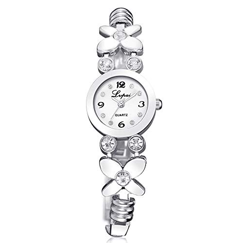 Powzz ornament Reloj de moda para mujer, diseño de flor con reloj de cuarzo de aleación con brillantes de color plateado y blanco