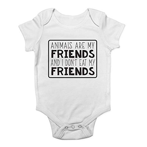 Promini Animals are My Friends and I Don't Eat My Friends Body pour bébé - Blanc - 2 mois