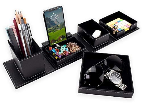 Leather Desk Organizer Set Multi-functional Stationery Storage Box Pen/Pencil, Cell Phone, Remote Control, desk pad, watch box, business card holder office desk Organizer, Black
