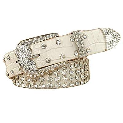 "Ayli Women's Sparkling Rhinestone Studded Leather Bling Jean Belt, Free Gift Box, Leopard Print, Fits Waist 25"" to 27"", bt6b527kh090"