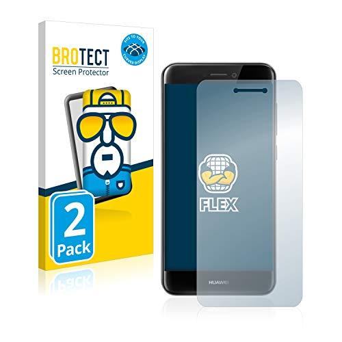 BROTECT Full-Cover Schutzfolie kompatibel mit Huawei P8 Lite 2017 (2 Stück) - Full-Screen Bildschirmschutz-Folie, 3D Curved, Kristall-Klar