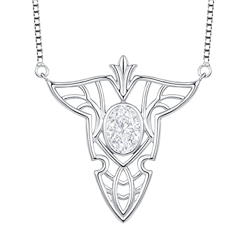 JO WISDOM Collar de plata de ley 925 elfos hoja para mujer con piedra natal, Plata esterlina,