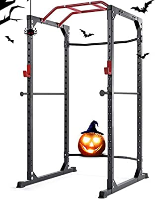 MaxKare Power Cage Rack 19-Level Adjustable with J-Hooks Heavy Duty High Capacity Olympic for Barbell Weight Lifting + Squat Stand + Push ups + Pull ups