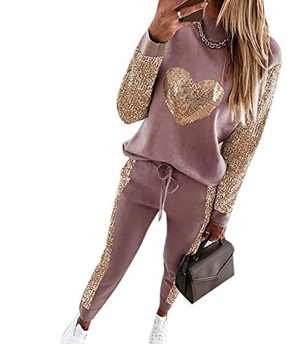 pantaloni tuta happiness donna Tuta da Donna Lucida a Cuore Set 2 Pezzi Completi con Paillettes Top e Pantaloni Lunghi Set Tute Set da Jogging