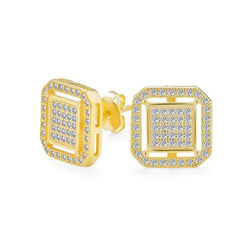 Geometrische Abgerundete Quadrat Doppel Box Zirkonia Pflaster Cz Ohrstecker Für Männer 14K Vergoldet 925 Sterling Silber
