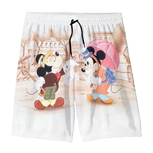Mickey Mouse and Minnie Teenager Shorts Boy and Girl Swimming Shorts Mesh Lined Beach Pants-X-Large White