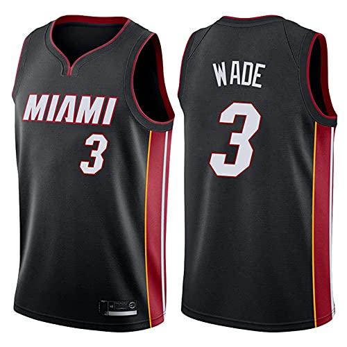 CYYX Jersey de la NBA de los Hombres, 3 Estilos, Miami Heat # 3 Dwyane Wade Classic Jersey, Transpirable sin Mangas Deportivo Chaleco de Deporte Baloncesto Jersey,A,S