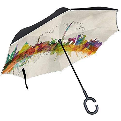 Elxf Paraguas invertido Paris Skyline Art Paraguas inverso de Doble Capa, a Prueba de Viento Protección UV Paraguas Recto Grande con Mango en Forma de C