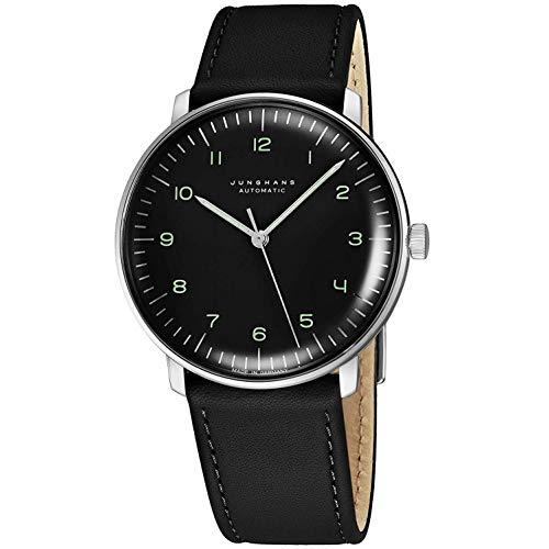 Junghans Herren Max Bill, Automatik-Uhr, Edelstahl und Leder, Farbe: Schwarz (Modell: 027/3400.00)