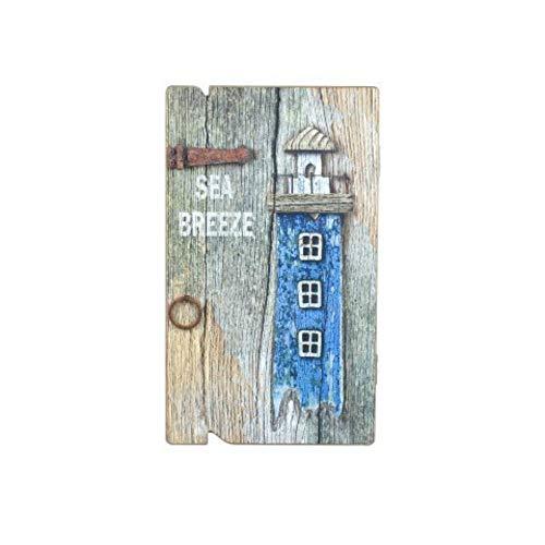 CAPRILO Caja Guardallaves Decorativa de Madera Faro Azul. Organización y Almacenamiento. Cajas Multiusos. Muebles Auxiliares. Regalos Originales. 34 x 20 x 4 cm.