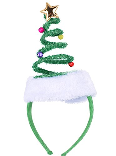ADJOY Springy Christmas Tree Headband with Bells Santa Headwear - One Size Fits Most