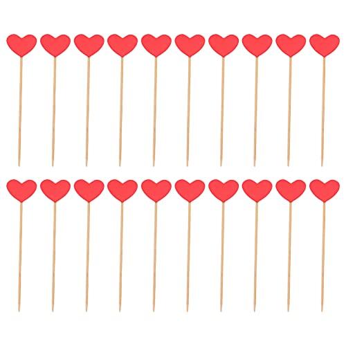 Alvinlite Pinchos de álamo, delicados palitos Rojos en Forma de corazón, decoración de Comida DIY, Palillos de Dientes de corazón, decoración de Pascua para Fiesta de cumpleaños, 20 Piezas