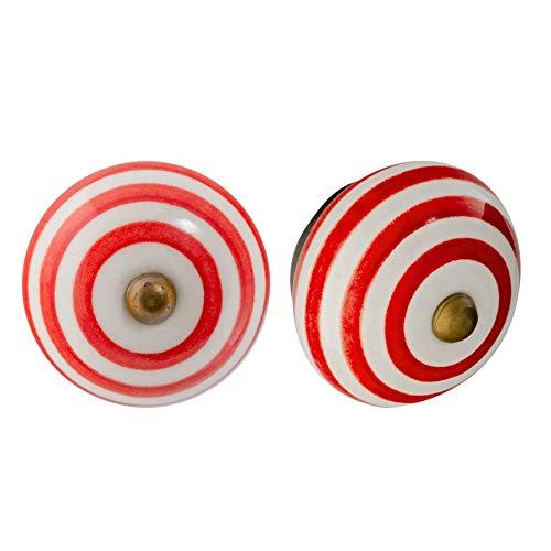 Nicola Spring Pomello per cassetto - in Ceramica con Design Righe - Rosso Chiaro - 6 Pezzi