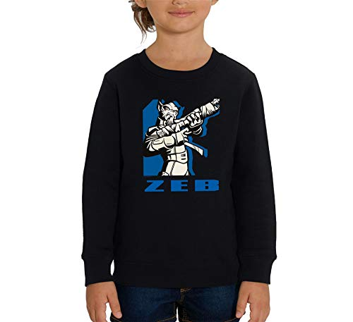 Star War Rebels Blue Printed Zeb - Sudadera unisex para niños, color negro