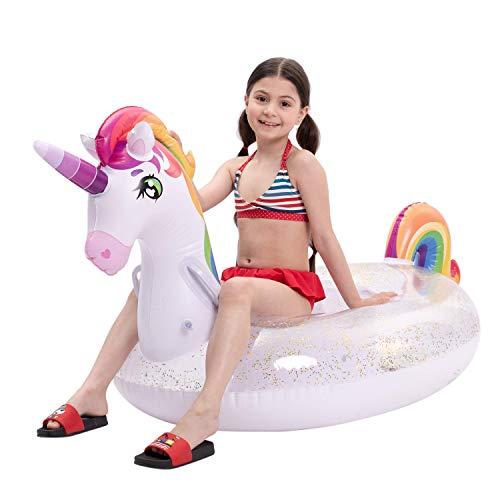 "JOYIN Inflatable Unicorn Pool Float with Glitters, Fun Beach Floaties, Ride On Unicorn Raft, Pool Toys, Summer Party Lounge Raft Decorations for Kids (69"" x 29.5"" x 33.5"")"