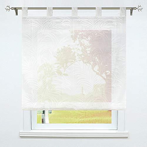 SCHOAL Raffrollo Ausbrenner Transparente Raffgardine mit Schlaufen Schlaufenrollo Weiß Gardinen Modern 1 Stück BxH 100x150cm Muster #2
