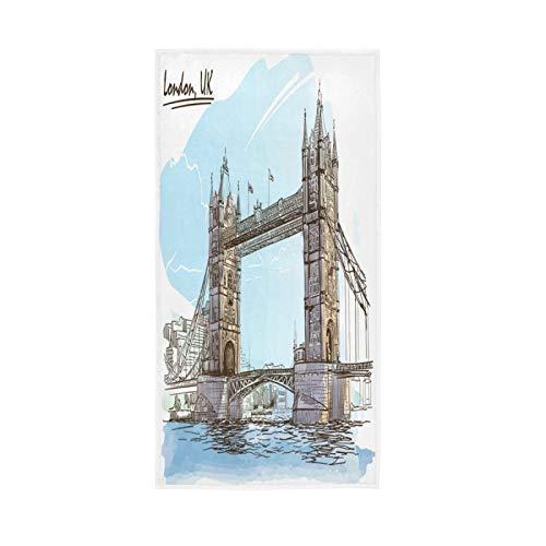PIXIUXIU - Toallas de mano de secado rápido para pintura en el puente de la torre de Londres, toallas absorbentes, suaves, gruesas, absorbentes, para uso diario, 76 x 15 pulgadas