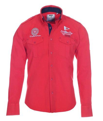 Pontto Designer Hemd Shirt in rot knallrot einfarbig Langarm Modern-Fit Gr. L