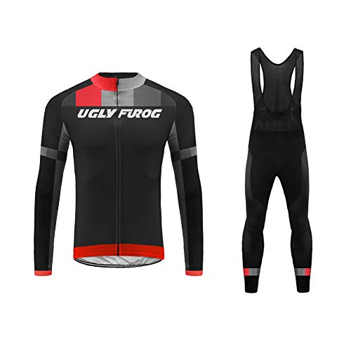Uglyfrog Nuevo De Invierno MTB Mantener Caliente Bici Manga Larga Maillot Ciclismo Hombre Bodies +Long Bib Pant with Gel Pad Winter Style RTML01