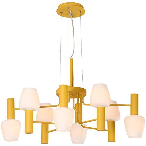Nórdicos modernas luces pendientes en forma de plancha dormitorio personalidad creativa restaurante Macarons 8 E27 portalámparas colorido Droplight, amarillo 8 lámpara