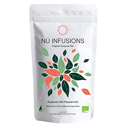 Nú Infusions Organic Guayusa Tea with Peppermint - Amazonian Herbal Tea with Slow-Release Caffeine for Focus & Energy Without Jitters - Certified Organic Tea, High in Antioxidants - 120g Loose Leaf